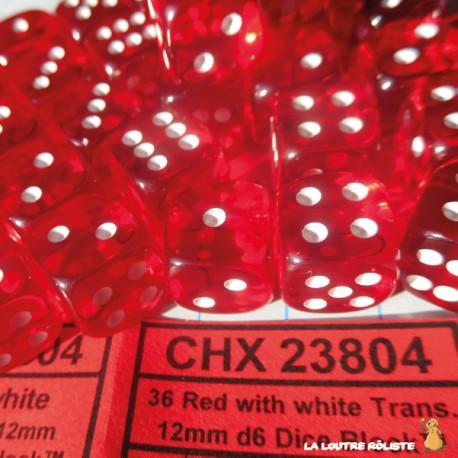 Set de mini dés 6 Transparent Rouge