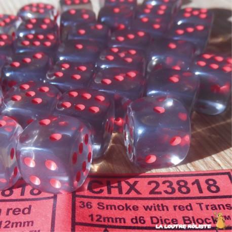 Set de mini dés 6 Transparent Smoke Rouge