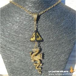 Collier Dragon long dé 4 noir