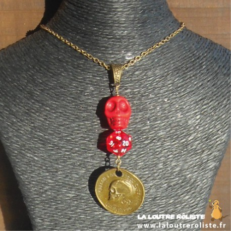 Collier Crâne mini dé 20 rouge