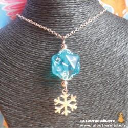 Collier Princesse des Neiges dé 20 bleu
