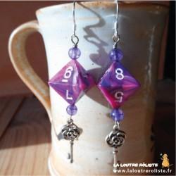 Boucles d'oreilles Steampunk dés 8 rose violet