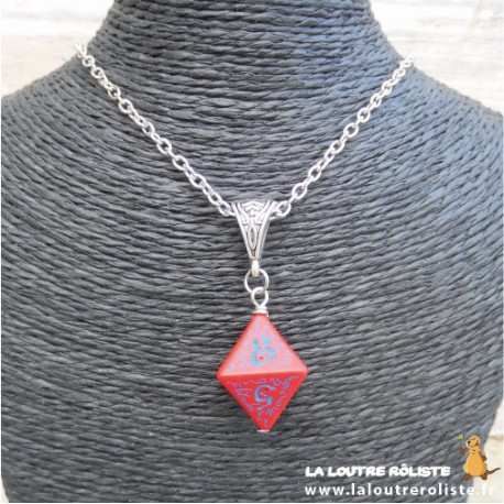 Collier dé 8 rouge Elfique