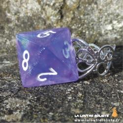 Bague dé 8 violet Paillette - bijou rôliste pour fan de Jeux de Rôle