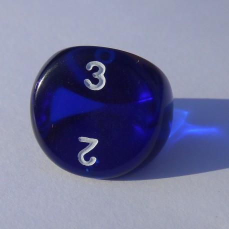 Dé 3 Transparent Bleu