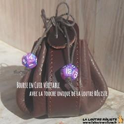 Bourse en cuir avec 2 mini dés ROSE & BLEU - cadeau rôliste très très utile et très très beau !