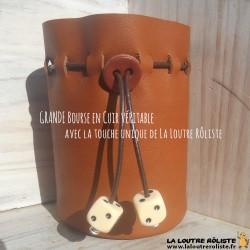 GRANDE Bourse en cuir avec 2 dés IVOIRE - cadeau rôliste très très utile et très très beau !
