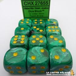Set de 12 dés 6 Vortex Malachite Vert
