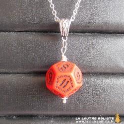 Collier dé 12 Runic rouge - bijou rôliste pour fan de JDR