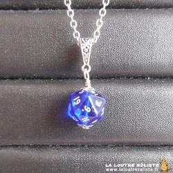 Collier MINI dé 20 Transparent bleu - le cadeau parfait pour passionné de JDR