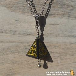 Collier dé 4 Elfique noir et jaune - le cadeau parfait pour passionné de JDR
