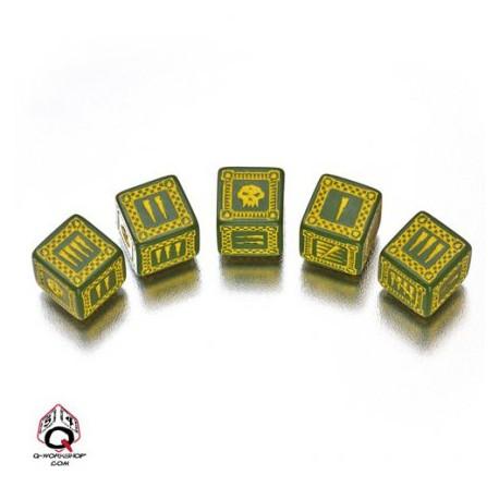 Set de 5 dés 6 faces Orc Vert et Jaune Q-Workshop