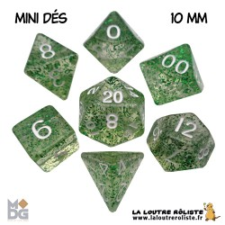 Set de MINI dés PAILLETTES VERT de chez Metallic Dice Games, import US
