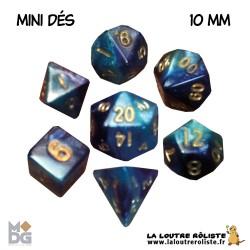 Set de MINI dés BLEU CLAIR & BLEU FONCE de chez Metallic Dice Games, import US