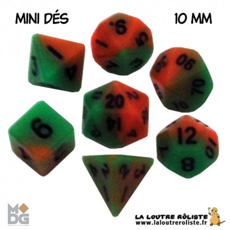 Set de MINI dés ORANGE & VERT de chez Metallic Dice Games, import US