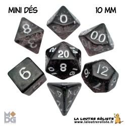 Set de MINI dés PAILLETTES NOIR de chez Metallic Dice Games, import US
