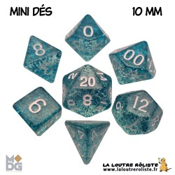 Set de MINI dés PAILLETTES BLEU de chez Metallic Dice Games, import US