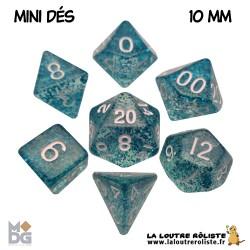 Set de MINI dés PAILLETTES BLEU de chez Metallic Dice Games, import US