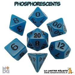 Set de dés PHOSPHORESCENTS BLEU de chez Metallic Dice Games, import US (DISPONIBILITE AU 5 JUIN 2017)