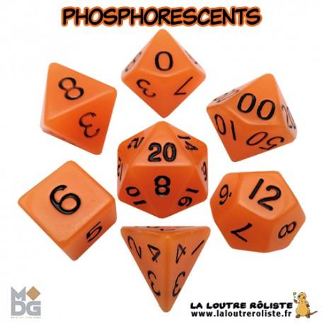 Set de dés PHOSPHORESCENTS ORANGE de chez Metallic Dice Games, import US