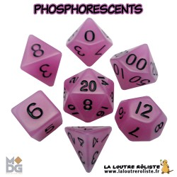 Set de dés PHOSPHORESCENTS VIOLET de chez Metallic Dice Games, import US