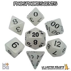 Set de dés PHOSPHORESCENTS BLANC de chez Metallic Dice Games, import US