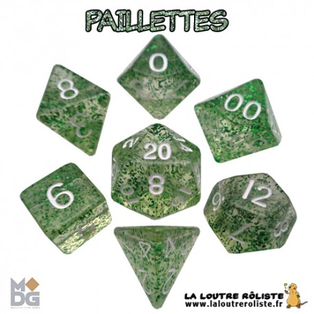 Set de dés PAILLETTES VERT de chez Metallic Dice Games, import US