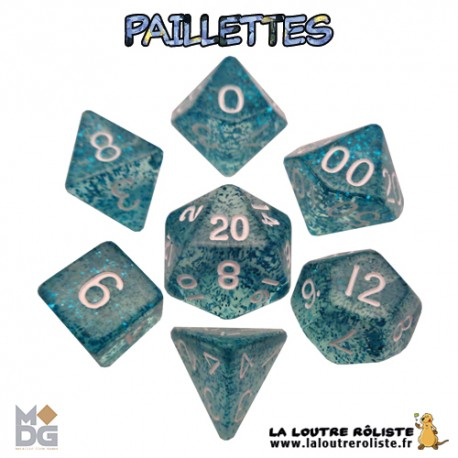 Set de dés PAILLETTES BLEU de chez Metallic Dice Games, import US