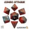 Set de dés COMBO ORANGE & MARRON de chez Metallic Dice Games, import US