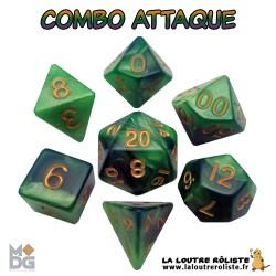 Set de dés COMBO VERT CLAIR & VERT FONCE de chez Metallic Dice Games, import US