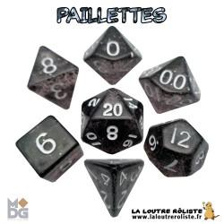 Set de dés PAILLETTES NOIR de chez Metallic Dice Games, import US