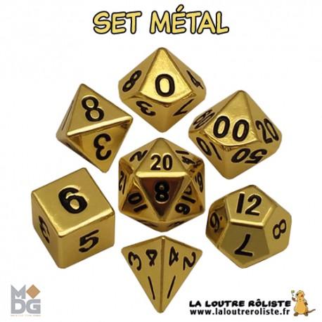 Set de dés METAL OR BRILLANT de chez Metallic Dice Games, import US