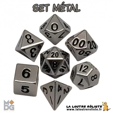 Set de dés METAL ARGENTE BRILLANT de chez Metallic Dice Games, import US