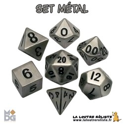 Set de dés METAL aspect ARGENT ANTIQUE de chez Metallic Dice Games, import US