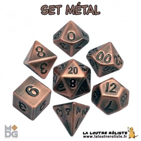 Set de dés METAL aspect CUIVRE ANTIQUE de chez Metallic Dice Games, import US