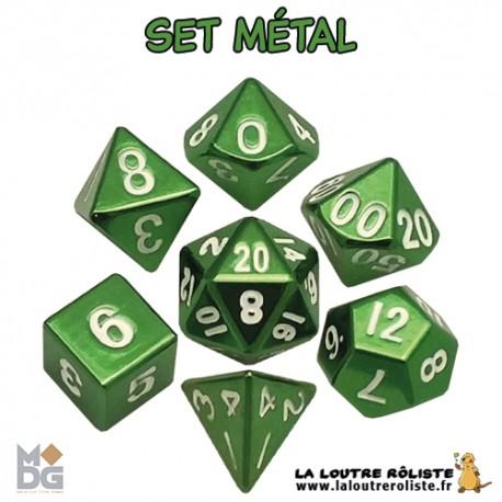 Set de dés METAL VERT de chez Metallic Dice Games, import US