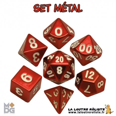 Set de dés METAL ROUGE de chez Metallic Dice Games, import US