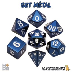 Set de dés METAL BLEU de chez Metallic Dice Games, import US