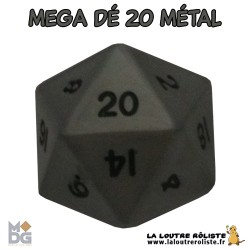 Dé 20 MEGA 35 mm METAL aspect ARGENT ANTIQUE de chez Metallic Dice Games, import US