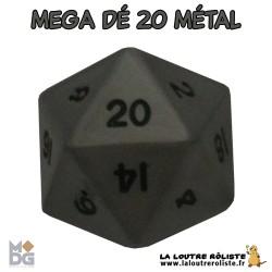 Dé 20 MEGA 35 mm METAL aspect ARGENT ANTIQUE de chez Metallic Dice Games, import US