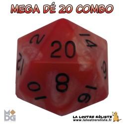 Dé 20 MEGA 35 mm COMBO ROUGE & BLANC de chez Metallic Dice Games, import US
