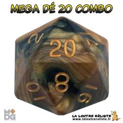 Dé 20 MEGA 35 mm COMBO NOIR & JAUNE de chez Metallic Dice Games, import US