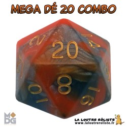 Dé 20 MEGA 35 mm COMBO ORANGE & MARRON de chez Metallic Dice Games, import US