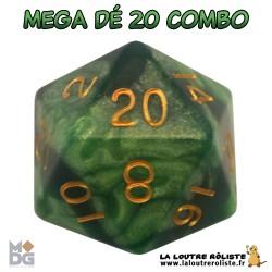 Dé 20 MEGA 35 mm COMBO VERT CLAIR & VERT FONCE de chez Metallic Dice Games, import US