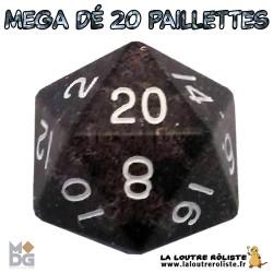 Dé 20 MEGA 35 mm PAILLETTES NOIR de chez Metallic Dice Games, import US