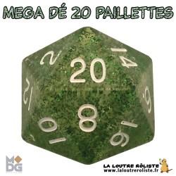 Dé 20 MEGA 35 mm PAILLETTES VERT de chez Metallic Dice Games, import US