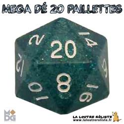Dé 20 MEGA 35 mm PAILLETTES BLEU de chez Metallic Dice Games, import US