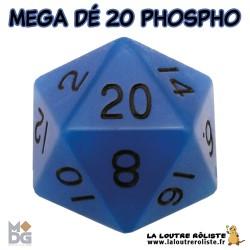 Dé 20 MEGA 35 mm PHOSPHORECENT BLEU de chez Metallic Dice Games, import US