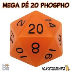 Dé 20 MEGA 35 mm PHOSPHORECENT ORANGE de chez Metallic Dice Games, import US