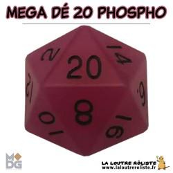 Dé 20 MEGA 35 mm PHOSPHORECENT VIOLET de chez Metallic Dice Games, import US